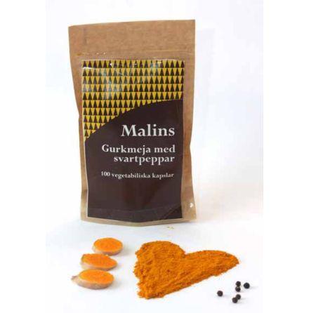 Malins Gurkmeja med svartpeppar, 100 kapslar